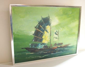 Mid-Century Modern Oil Painting, Nautical Asian Seascape, Celadon Green, Chunky Chrome Frame