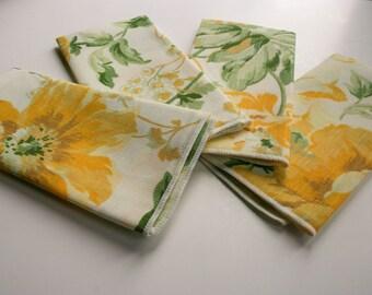 Retro, Yellow Daffidol Floral & Green Leaf, Vintage 70s Napkins, Set of 4,