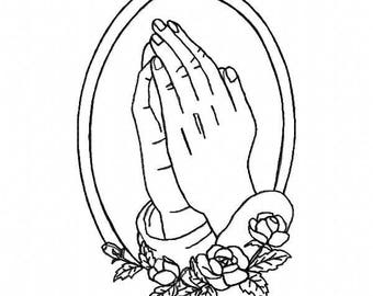 Praying Hands Embroidery Design ~ Instant Download