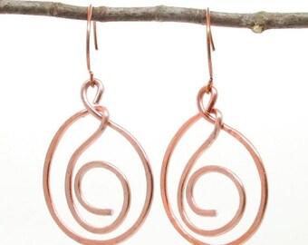 SALE Hammered Copper Swirl Dangle Earrings