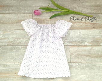 White Cotton Seersucker Easter Dress with Eyelet Lace, Easter, Portrait, Church, 6-9M 6-9 Months, READY to SHIP, Rose and Ruffle