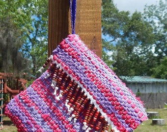Pink and purple with beaded fringe handwoven wristlet, purse, bag