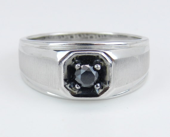 Mens Solitaire Black Diamond Engagement Pinky Ring White Gold Size 10.75