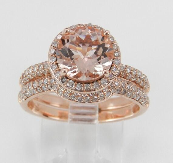 Diamond and Morganite Halo Engagement Ring Wedding Band Set 14K Rose Gold Size 7