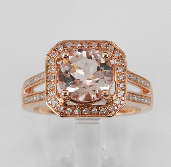 Morganite and Diamond Halo Engagement Ring 14K Rose Gold Size 7 Pink Stone