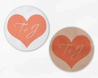 Initials in Heart Wedding Favor Stickers - Coral Custom White Or Kraft Round Labels for Bag Seals, Envelopes, Mason Jars (2006)