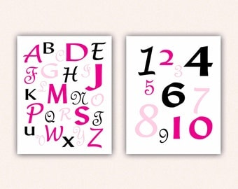 Alphabet and Numbers Print Set - Hot Pink and Black ABC's and 123's for Kid's Bedroom - Custom Nursery Art (5004)