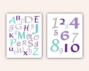 Alphabet and Numbers Print Set - Purple and Teal ABC's and 123's for Kid's Bedroom - Custom Nursery Art (5004)