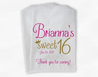 Sweet 16 Birthday Personalized Candy Buffet Bags - Hot Pink and Gold Thank You Custom Favor Bags with Crown - 25 Paper Treat Bags (0081)