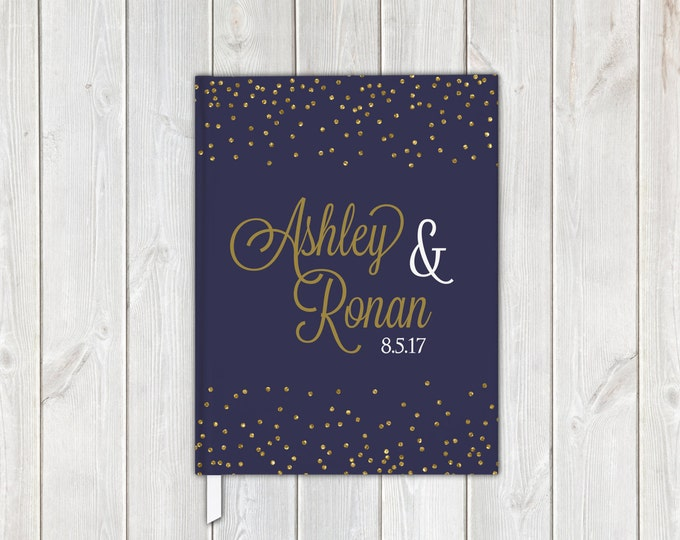 Featured listing image: Navy Blue and Gold Confetti Faux Metallic Foil Wedding Guest Book - Personalized Traditional Guestbook, Journal, Album