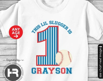 Baseball Birthday Shirt or Bodysuit -- Personalized Baseball Shirt with Child's Name & Age