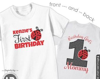 ADULT Ladybug Birthday Birthday Shirt - Personalized Ladybug Birthday Girl's Mommy Shirt or any title name