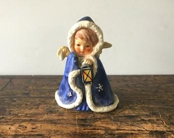 Vintage 1958, W. Germany Goebel, Blue Angel Lantern Figurine #Rob 412, By Janet Robson