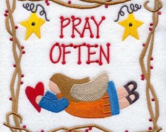 Pray Often Embroidered on Kona Cotton Quilt Block // Plain Weave Cotton Dish Towel // Also Available on Other Items
