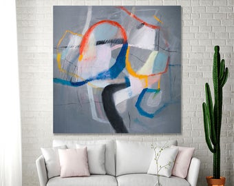 Large Colorful modern Geometric Art Modern Abstract painting 36x36 Grey painting with blue yellow and red Canvas Painting by Duealberi