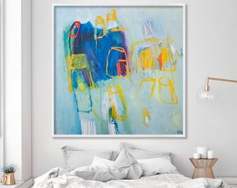 Colorful Abstract Giclee print from Large abstract art Wall Art Prints, Canvas Art Blue Painting with Yellow, Duealberi