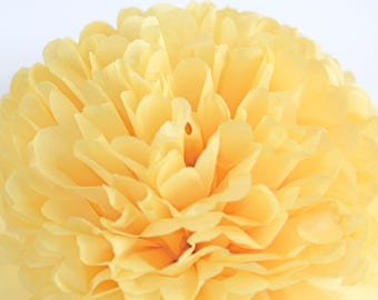 Paper pom pom in Sunshine yellow  - wedding decorations / party decor/ nursery decor/ bridal baby shower/ tissue paper pompoms / party poms