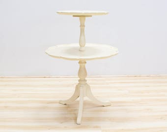 Vintage Pie Crust Table, Two Tier Painted Antique White, Wedding Props