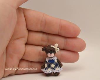 Thread doll - Brown Bear - Teddy Bear - miniature bear - A Thread Artist Bear - Tiny Stuffed Bear - A Little Bear - Amigurumi Crochet Doll