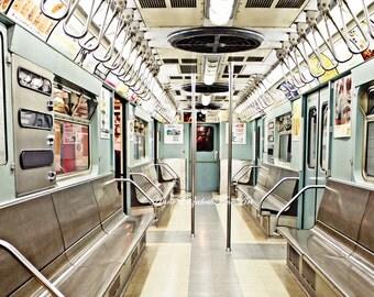 Subway Art Print, New York Photography, Subway Car, Train Car, Vintage Travel Decor, 1960's Subway Car, Retro Travel, Old Subway Car, Dorm