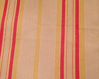 Ticking Fabric Striped Tan Red Yellow Decorator Med Weight 2 yds plus