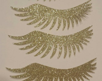 15 set Glitter Lashes or Stashes baby shower or Gender Reveal cut outs Die cuts Add to your own decor you choose color! Spa Makeup or beauty