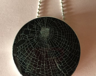 Real Spider Web Pendant set in .925 Sterling Silver