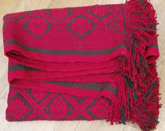 Vintage Scandinavian Woven Wool textile, blanket, rug, red and black
