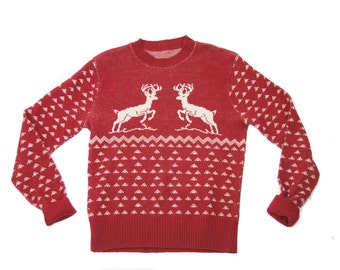 1950's Sweater // Deer Intarsia Fair Isle Stag Burgundy Wool Sweater