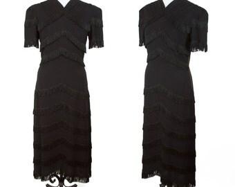 1940's Dress // Fringe Black Rayon Cabaret Film Noir Dress