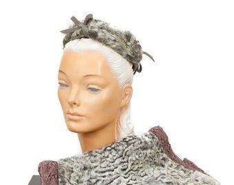 SPRING SALE 1940s Persian Lamb Fur Muff Hat Set in Grey