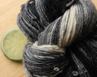 Three Piece Suit -Black Grey Gradient Merino Wool Silk DK Weight Handspun Yarn