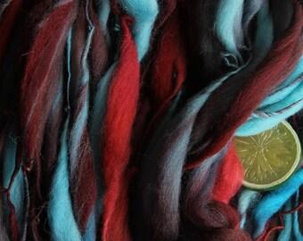 Rocket - Handspun Wool Yarn Red Blue Burgundy Thick and Thin Skein