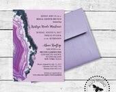Custom Lavender Geode Shower Invitations