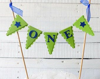 Lime Green & Blue First Birthday Smash Cake Topper