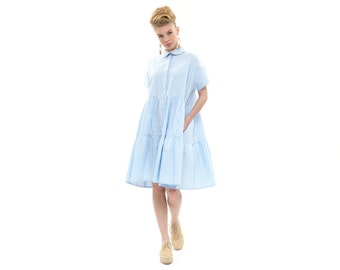 White with Pale blue stripes dress , spectacular dress, high waist,  Fashion Dress for Summer, short Sleeves Loose and  Relxed Fit