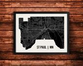 St Paul Map Art Print | St Paul Print | St Paul Art Print | St Paul Poster | St Paul Gift | Wall Art