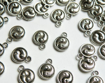 20 Yin Yang charms zen meditation antique silver 13x10mm PR331-35