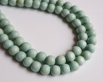 Light Seafoam Blue wood beads round 10mm full strand eco-friendly Cheesewood 1599NB