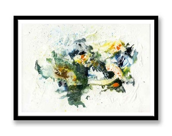 Green and blue abstract // Original one of a kind art work // Abstract Ink Painting // Wall Art // Office Art // Corporate Art