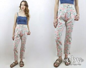 Mom Jeans Floral Jeans 1980s Jeans 80s Jeans Floral Denim High Waisted Jeans Vintage 80s High Waisted Floral Jeans M 27 90s Jeans 90s Denim