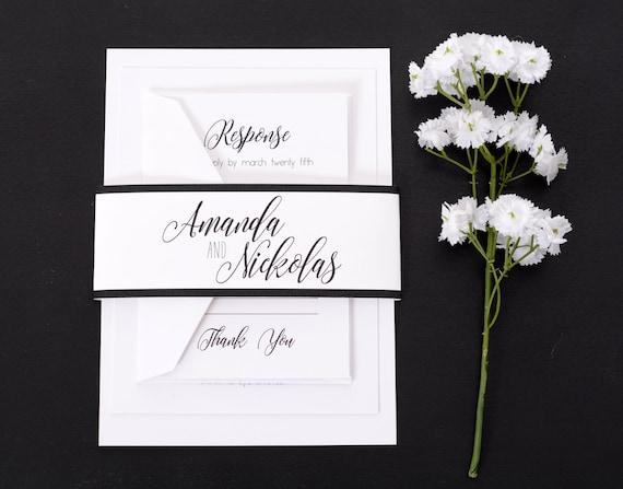 Simple Vintage Wedding Invitations: SAMPLE Custom Wedding Invitation Suite