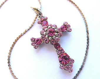 TWOTONE PINK Rhinestone Cross, Silvertone Pink Rhinestone Cross, 1980s Feminine Pink Cross, Cross Pendant & Chain, Ladies Cross Necklace