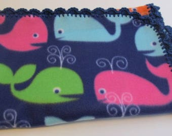 FREE SHIPPING!, Fleece Whale Blanket with Crocheted Edge, whale baby blanket, fleece baby blanketcrochet edge baby blanket.  READY to ship!