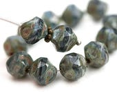9mm Round Chunky czech beads, Picasso Dark Blue Grey mixed color fire polished beads, nugget - 15Pc - 2915