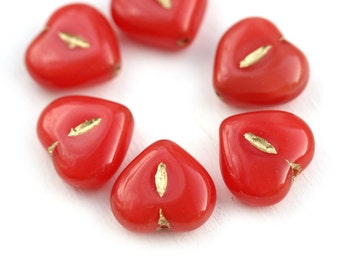 6pc Red Heart beads, Czech glass pressed beads, Gold Inlays, puffy hearts - 14mm - 2733