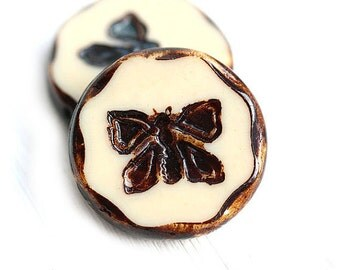 2pc Butterfly Focal beads, 26mm Extra large beads - Beige Brown with Picasso finish, czech glass, table cut, butterflies - 1771