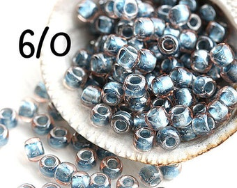Montana Blue Seed beads, TOHO, size 6/0, Inside-Color Crystal Metallic Blue Lined N 288, rocailles, round beads - 10gr - S604