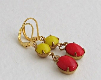 Red and Yellow Earrings .. two stone earrings, tomato red, citrus, colourful earrings