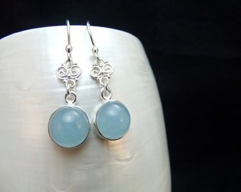 Aquamarine Sterling Silver Dangle Earrings